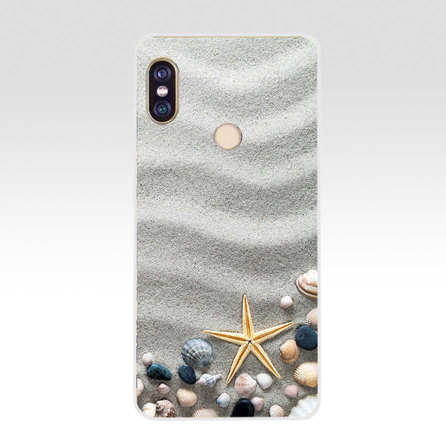 Funda de silicona TPU suave conchas marinas mares Star 88G Madera azul para xiaomi Redmi 5 Plus note 5 pro mi 8