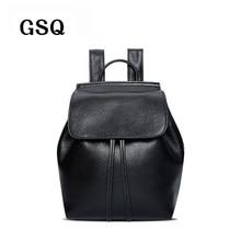 Gsq 100% echtem leder frauen rucksack mode eimer rucksack heiße förderung berühmte designer mädchen schultasche frauen reisetasche