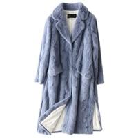 Luxury Genuine Sliced Mink Fur Coat Jacket Autumn Winter Genuine Women Fur X Long Outerwear LF5182