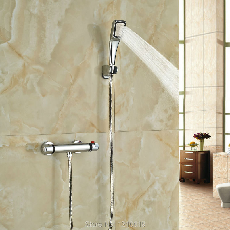 ФОТО Newly Modern Thermostatic Shower Set Chrome Plate Simple  Shower Faucet w/ Hand Shower Wall Mounted