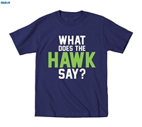GILDAN What Does The Hawk Say Adult Novelty Seattle Athleticers Footballing Mens Shirts T Shirts Short