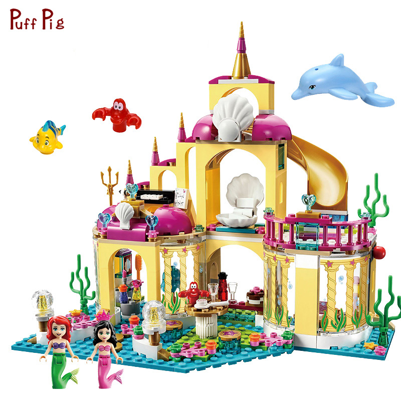 Elsa Princess Anna Ariel Mermaid Figures Ice Castle Building Blocks Compatible Legoed City Friends Bricks Toys For Girls Gifts the little mermaid ariel princess dress cosplay adult ariel mermaid costume women mermaid princess ariel green dress cosplay