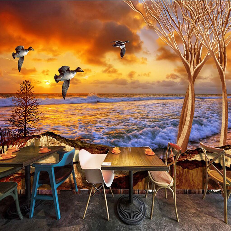 Custom 3D Wall Mural Scenery in Wallpapers Landscape Sea Gull Sunset Tree 3D Wall Murals Living Room Decor Photo Wallpaper Roll sea world 3d wallpaper murals for living room bedroom photo print wallpapers 3 d wall paper papier modern wall coverings