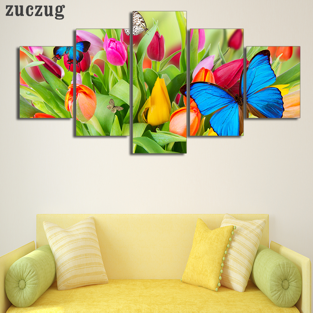 Unframed 5Pcs HD Printed Blue Butterfly Tulip Wall Art Picture Home ...