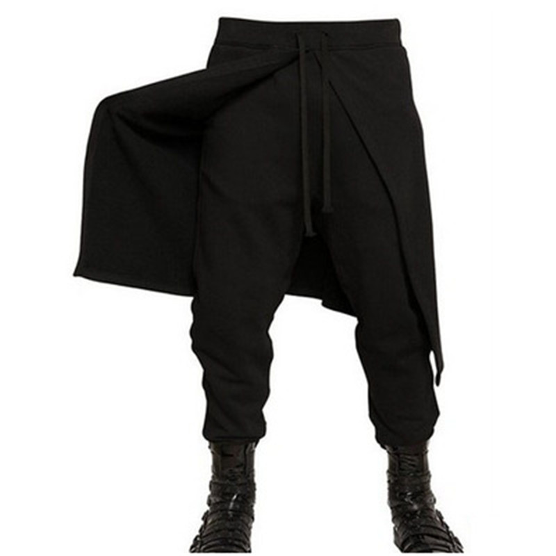 Pants Men Gothic Trousers Skirt Wearing Tight Punk-Style Black Male Fashion Brands Hip-Hop