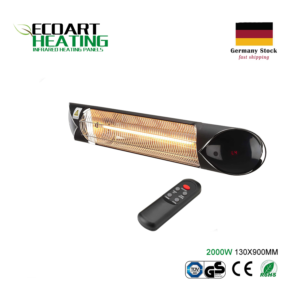 2000W Infrared Heater With Remote Control 4 Heating Levels Timer Function Outdoor Patio Heater