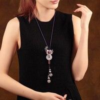 Handmade Necklaces Long Sweater ChainTassel Beads Chains Necklace Bohemian Tribal Fashion Jewelry Women Gift folk custom