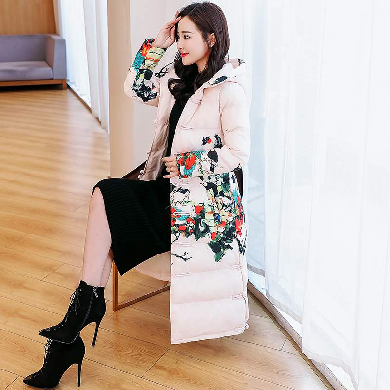 red Long parka jacket women plus size large thick warm coat winter hooded floral Chinese outerwear coats 2019 clothing PR499-in Down Coats from Women's Clothing    2