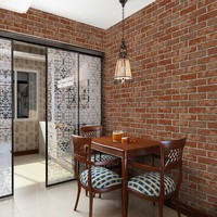 Free Shipping Features 3D Retro Imitation Brick Wallpaper Barber Shop Clothing Store Restaurant PVC Waterproof Brick
