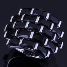Splendid Big Rectangle Black Cubic Zirconia 925 Sterling Silver Ring For Women V0538