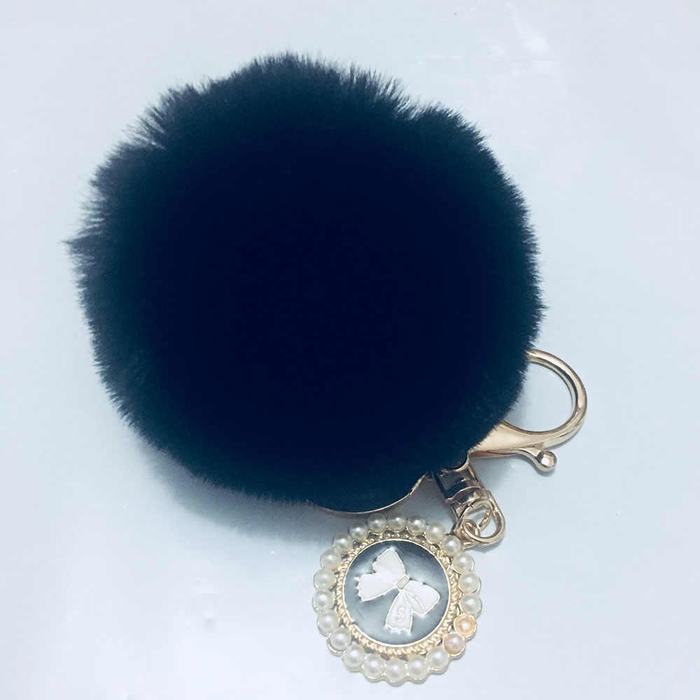 8 cm Faux Fur PomPom DIY KeyChain Saco de Pele de Coelho Bola Pom pom Fivela Circular Arco com Pérola Pingente de Ouro sleutelhanger Pom Poms