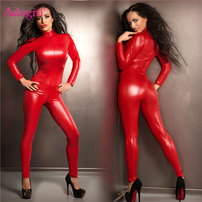 Adogirl Plus Size S-5XL Red PU Leather   Jumpsuit   Zipper Up Turtleneck Long Sleeve Bandage Romper Sexy Club Costumes Biker Outfits