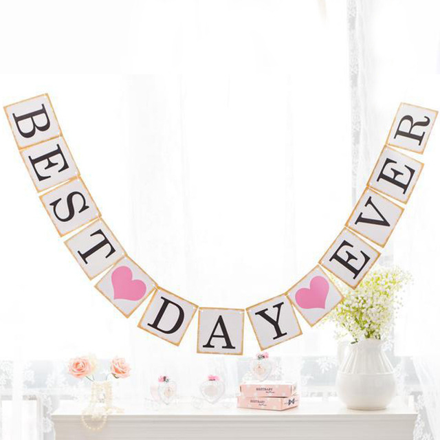 Best Day Ever Bunting Banner Hanging Sign Wedding Party Anniversary