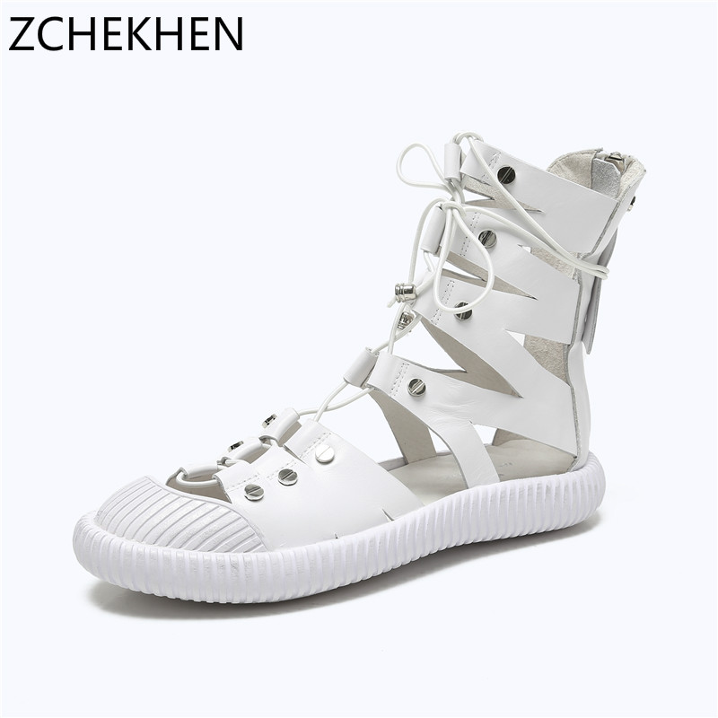 Genuine leather Gladiator Sandals 2018 Summer Women Sandals New Style Casual Summer Shoes Woman Beach Flat Sandals Shoes Ladies gladiator women s sandals 2018 summer new casual shoes women s shoes european roman style zipper bag with flat women s sandals
