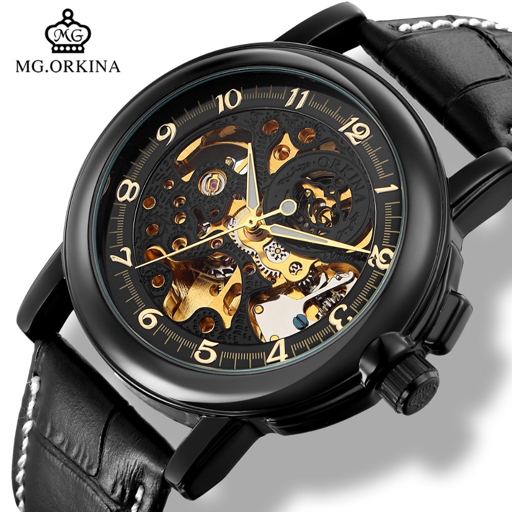 Orkina 2018 Skeleton Mechanical Black Leather Watches Men Automatic Transparent Wrist Watch Male Wristwatch relogio automatico orkina male watches skeleton auto mechanical men wrist watch mesh band heren uhr automatic wristwatches