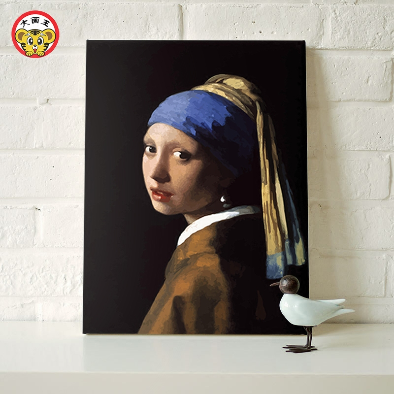 Painting By Numbers Art Paint By Number Wearing Pearl Earrings Girl Dutch Painter Johannes Vermeer Diy Digital Painting Decorati