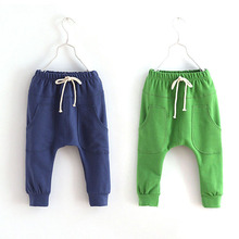 Hot selling size90~130 solid color children pants boys trousers girls harem pants candy child 5 colors