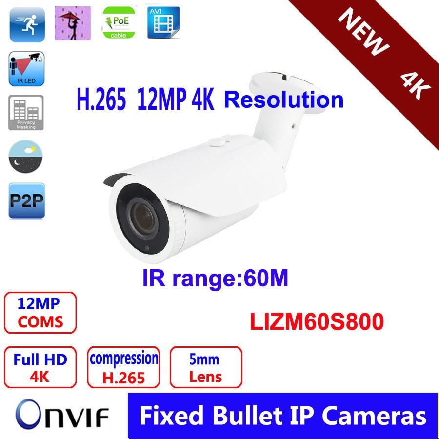 4K IR Bullet IP Camera 5mm/60m/Metal/IP66 H.264/H.265 12MP CS 5mm HD Lens  POE Security IP Camera multi language 4k hd ip bullet network camera 12mp cs 5mm hd lens ip66 poe security ip camera h 265 h 264 compression
