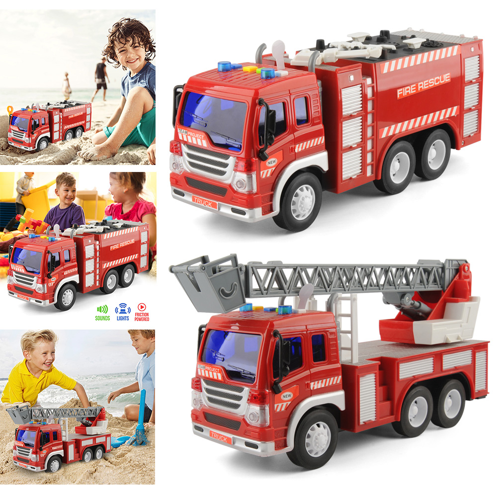 2pcs/set 1/16 Vehicle Engineering Car Fire Truck Toy Car Inertial Fire Fighting Truck Car Boys Toys For Children Gift