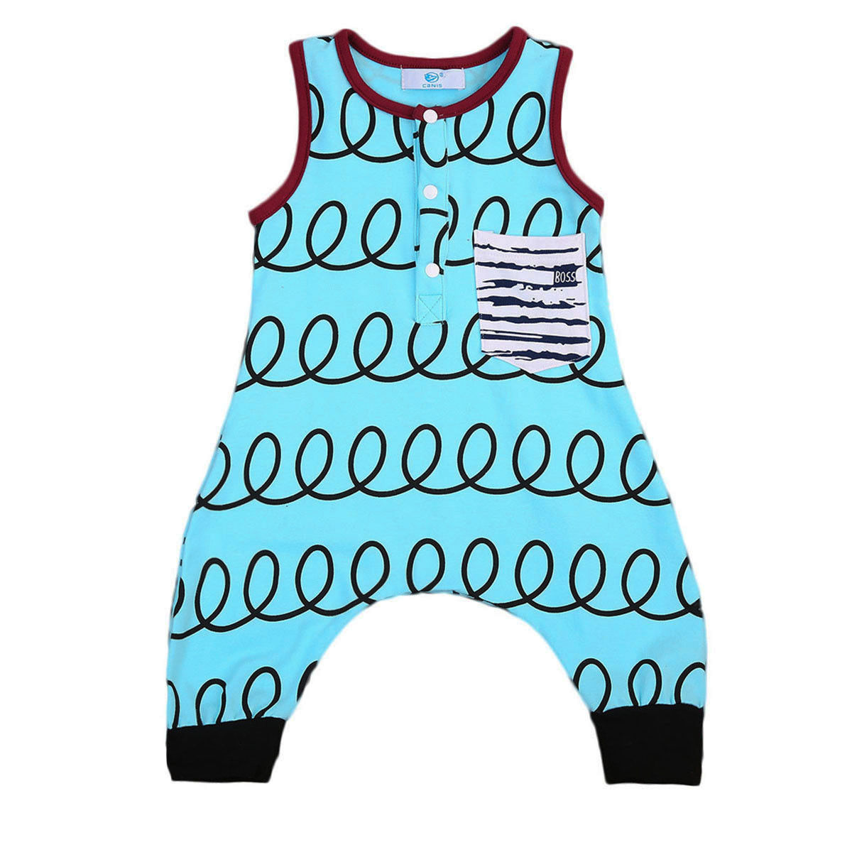 2017 New Summer Baby Boy Girl Romper Sleeveless Print Pocket Harem Jumpsuit One Pieces Newborn Clothes 0-24M 3pcs set newborn infant baby boy girl clothes 2017 summer short sleeve leopard floral romper bodysuit headband shoes outfits