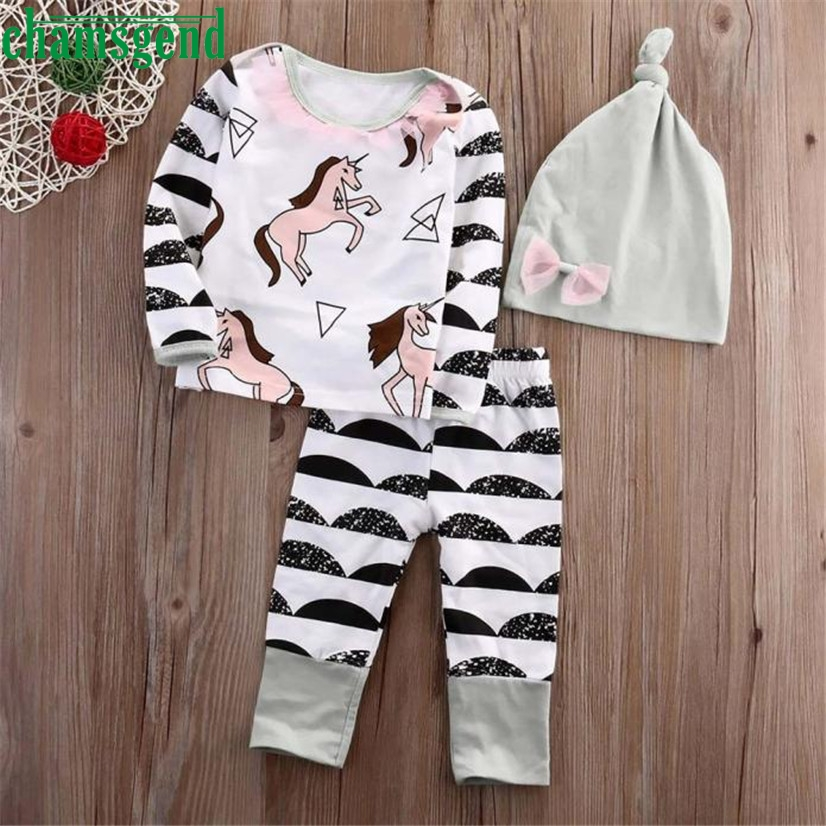 CHAMSGEND Drop ship kids clothes boys clothes sets cute Baby Girl Stripe Horse Long Sleeve T-shirt Pants Hat Outfits Set S35