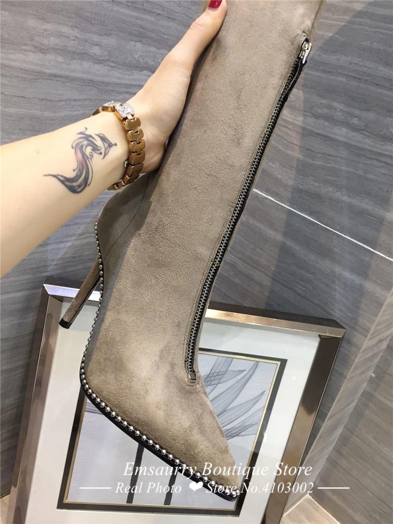 Großhandel Schuhe Frau Spitze Zehen 7cm Pfennigabsatz Schlank Overknee Stiefel Stretch Denim Blue Jeans Overknee Stiefel Von Vintagered, $218.25 Auf