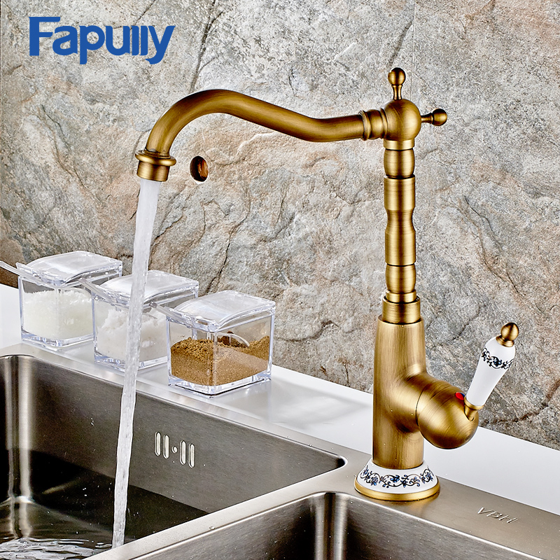 fapully kitchen sink faucet valve antique brass kitchen faucet rotatable ceramic water tap - Brass Kitchen Sink