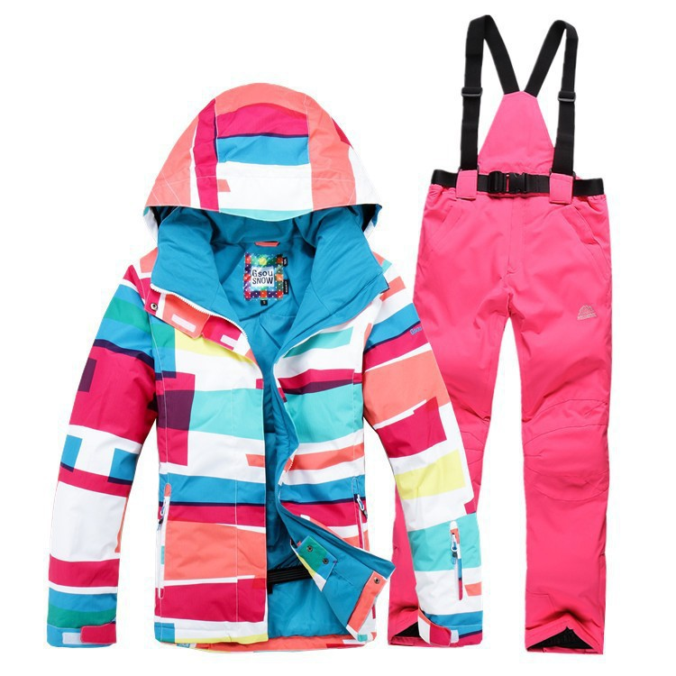 Free Shipping 2016 Gsou snow high quality Women Skiing Suit Sets thermal warm Waterproof Hooded Jackets+Pants snowboard clothes