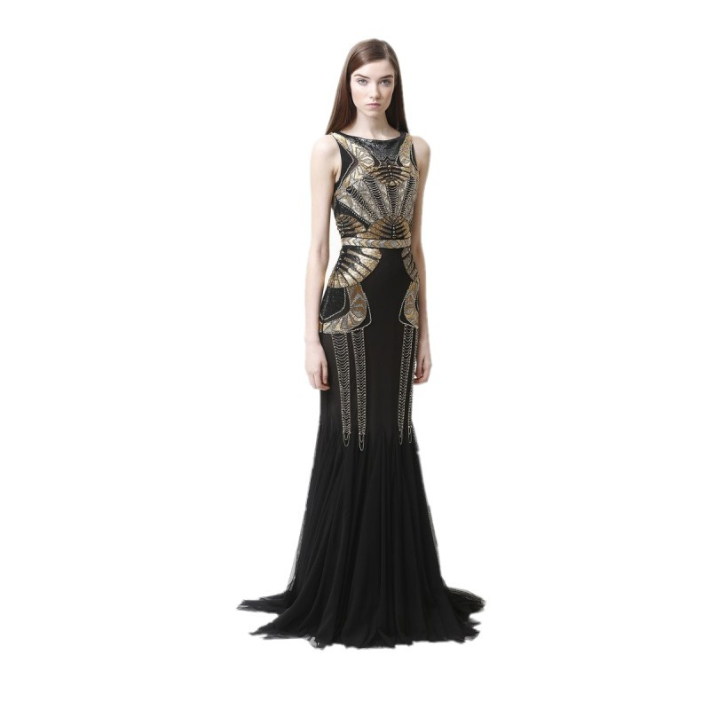 1920s Great Gatsby Dress Embroidery Long Grecian Dress Party Evening ...
