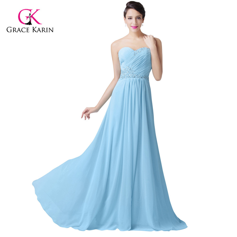 Grace Karin Beaded Cheap Light Blue Evening Dresses Long