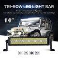 Oslamp 3 fila 14 pulgadas recta luz LED Bar inundación del punto Combo viga campo a través del trabajo del Led luz de conducción Bar camioneta SUV ATV 12 V 24 V