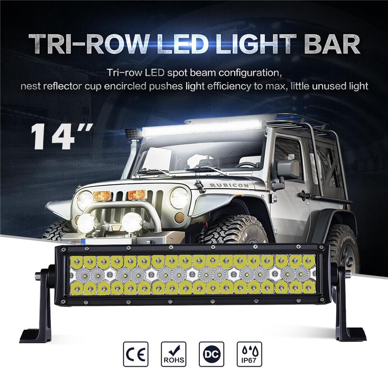 Oslamp New Triple-Row 14inch Straight LED Light Bar 6000K CREE Chips Combo Beam Offroad Led Work Driving Light for Pick-Up 3-Row oslamp triple row 6000k cree chips