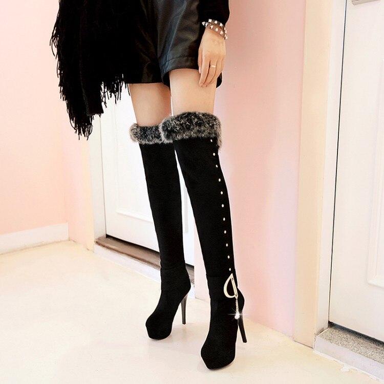 ФОТО Fashion sexy black 16 medium-long boots spring and autumn princess women's shoes ultra thin heels boots high heels high-leg