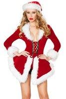 Adulto natal papai noel traje New Sexy mulheres traje de santa Xmas Costume 7275 Exotic vestuário natal traje de santa adulto