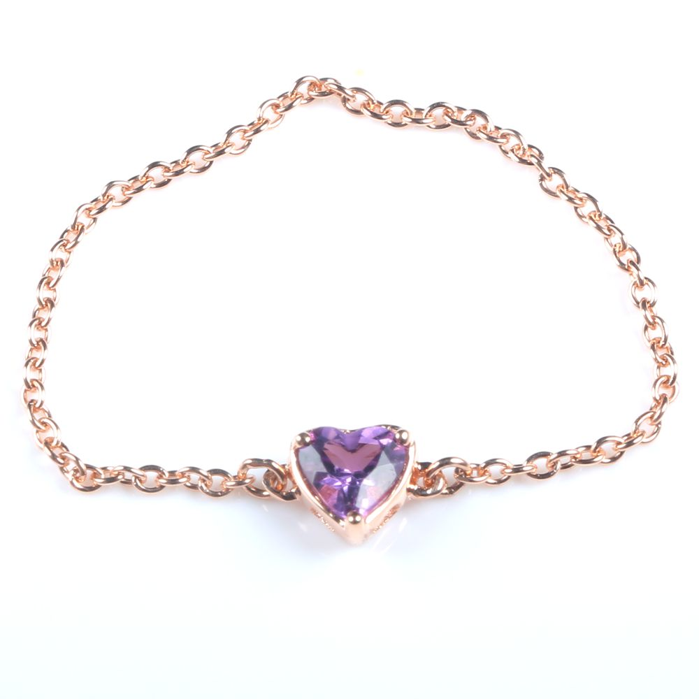 все цены на Women Solid 18k Rose Gold Heart Cut Natural Amethyst Engagement Chain Ring Unique Fine Jewelry онлайн
