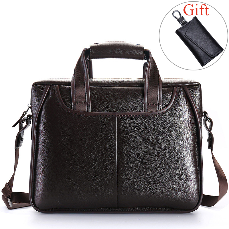 100% Genuine Leather Men's Briefcase Large Capacity Men Handbags Business Men Shoulder Messenger Bag Natural Cowskin Laptop Bag