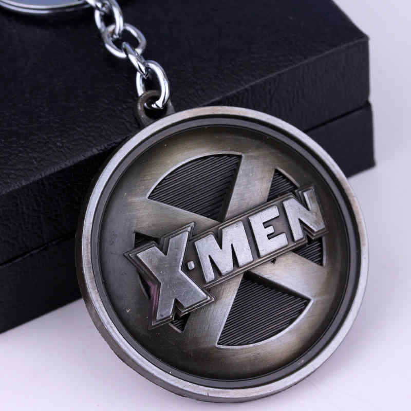 映画ジュエリースーパーマンスーパーヒーロー X-男性 × 男性ロゴ金属キーリングラウンドコインキーチェーンリングお土産ドロップシッピング