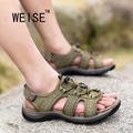 WEISE Free shipping 2016 New Spring And Summer Elastic Belt Leather Sandals Wear Beach Shoes  Men's Sandals