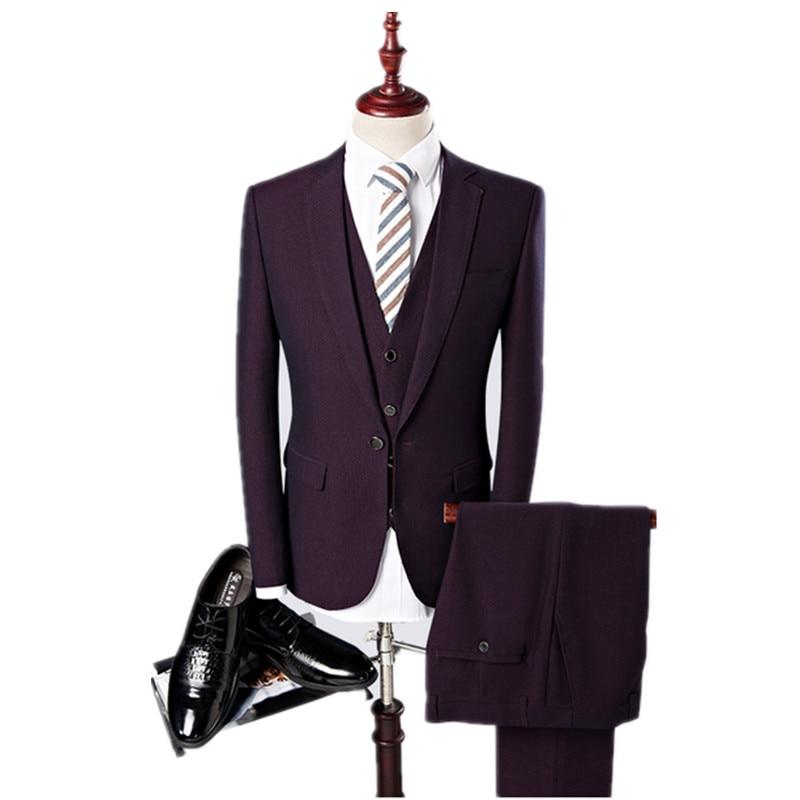 (Куртка + Жилет + Брюки) 2017 новое прибытие Высокого качества Мужские Костюмы мужская Мода бизнес свадебный Костюм мужчины Свадебный костюм 3 цвет
