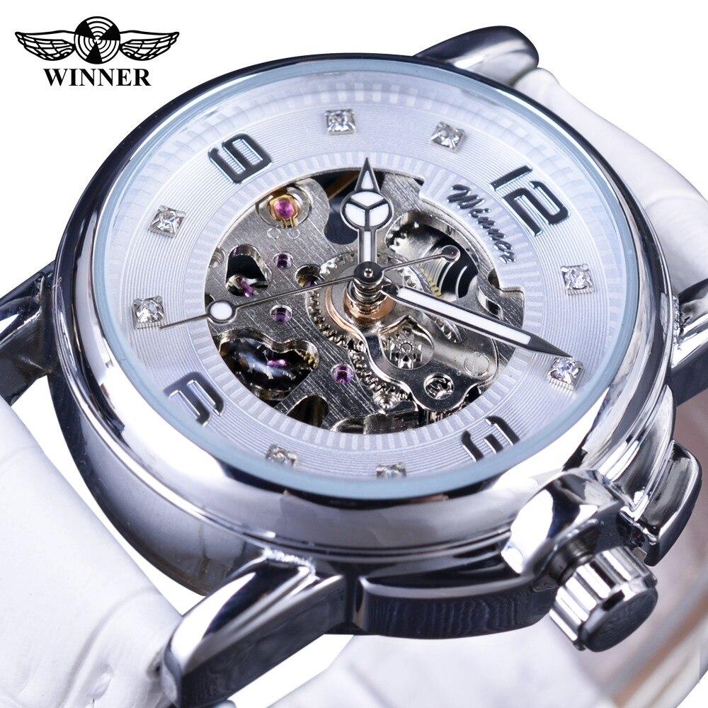 Gewinner 2017 Damen Diamant Display Frauen Top Marke Luxus Weiß Einfache Skeleton Transparent Fall Automatische Mechanische Uhren