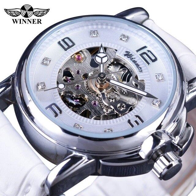 Winner 2017 Ladies Diamond Display Women Top Brand Luxury White Simple Skeleton Transparent Case Automatic Mechanical Watches