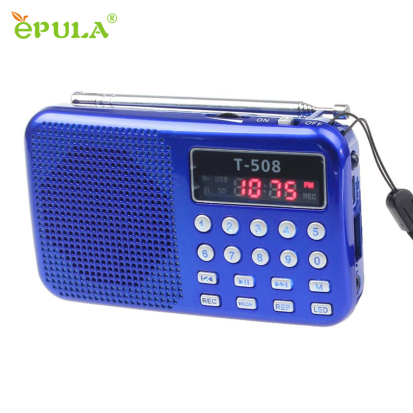 Factory Price Portable TF Card Speaker LED Screen USB FM Radio with Built in Mic Hands