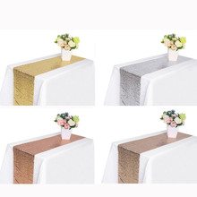 New 30X275cm Sequin Satin Table Runner Glitter Tablecloth Bar Wedding Party Banquet Venue DIY Decoration Accessories Textiles