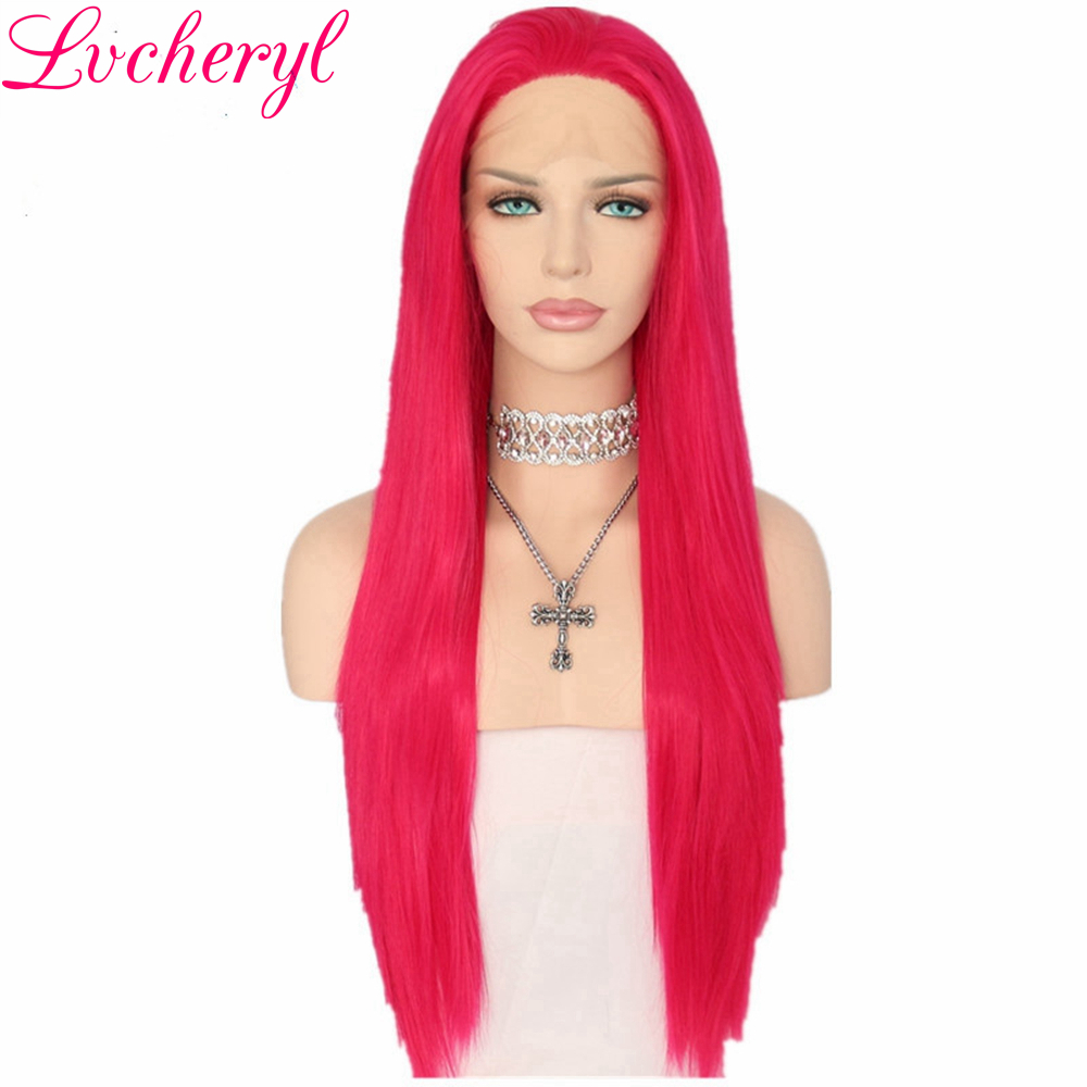 Lvcheryl Hand Tied Rose Red Color Natural Straight Heat Resistant Hair Cosplay Drag Queen Make up