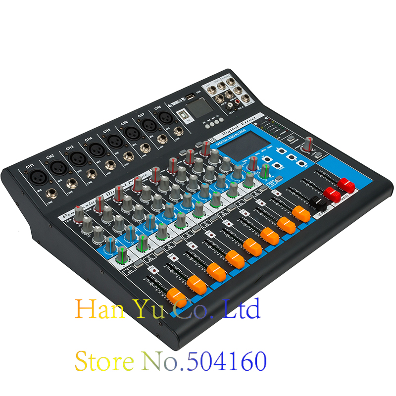 Professional Karaoke Audio Mixer 8 Channel Amplifier Microphone Sound Mixing Console With USB 48V Phantom Power leory professional digital microphone sound mixing console 48v phantom power 7 channel karaoke audio mixer amplifier with usb