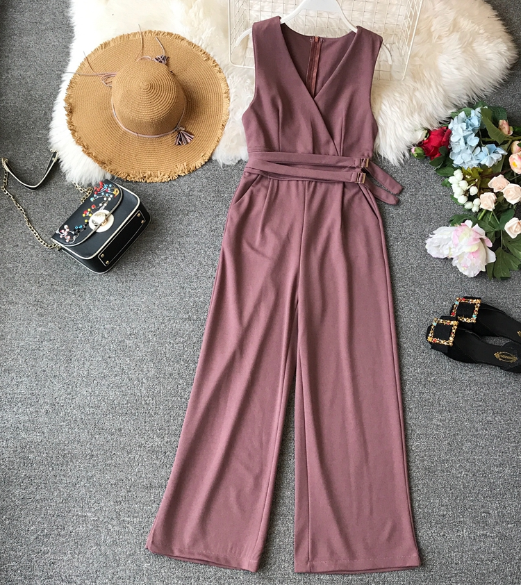 ALPHALMODA 2019 Spring Ladies Sleeveless Solid Jumpsuits V-neck High Waist Sashes Women Casual Wide Leg Rompers 25