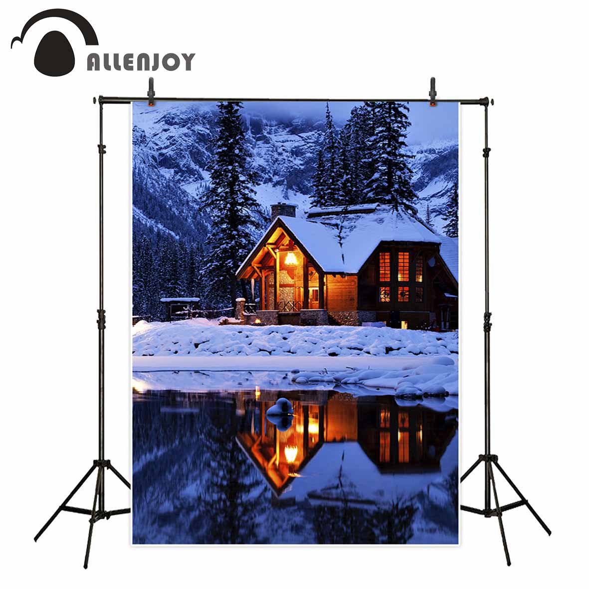 Allenjoy winter background for photos mountain house river snow tree natural photocall backdrop professional photobooth mary pope osborne magic tree house 43 leprechaun in late winter