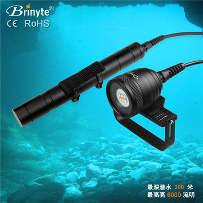 Brinyte DIV10W LED Canister Light Video Lamp 4500lm LED Scuba Diving Torch Flashlight 200M Underwater 3*26650 Battery Lamp scuba dive light