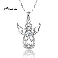 AINUOSHI Luxury 925 Sterling Silver Pendant Necklace for Women Cute Fairy Wings Long Chain Necklace Wedding Silver Angel Jewelry