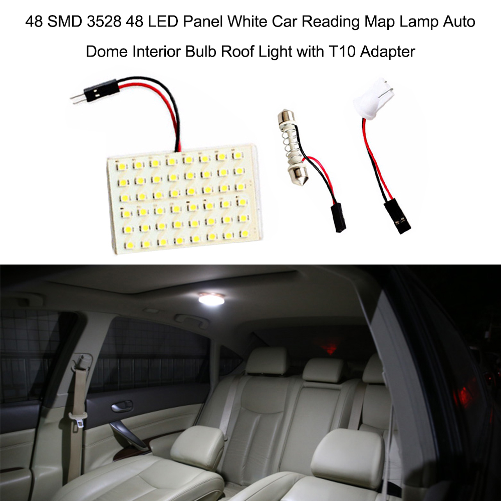 High Quality White Adapter 3528 Bulb SMD 48SMD 4.8W 12V Light T10 LED Lamp BA9S